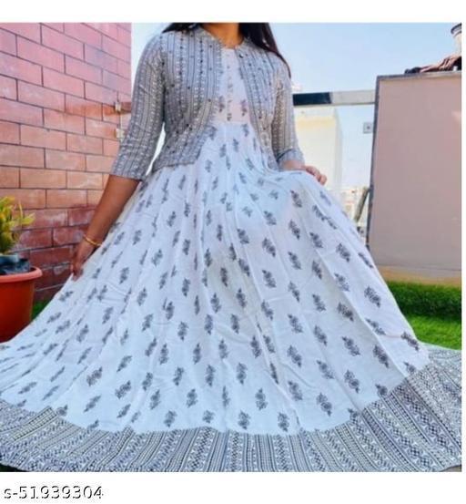 Women Rayon White  Printed with Jacket  Kurtis