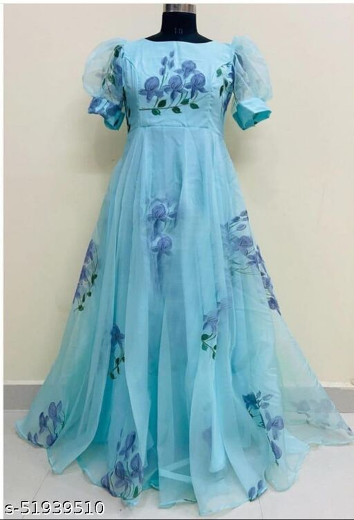 Exlusive trendy look Sky Blue printed gown