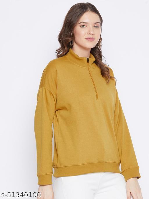 Fleece Half Zipper Drop Shoulder Sweatshirt