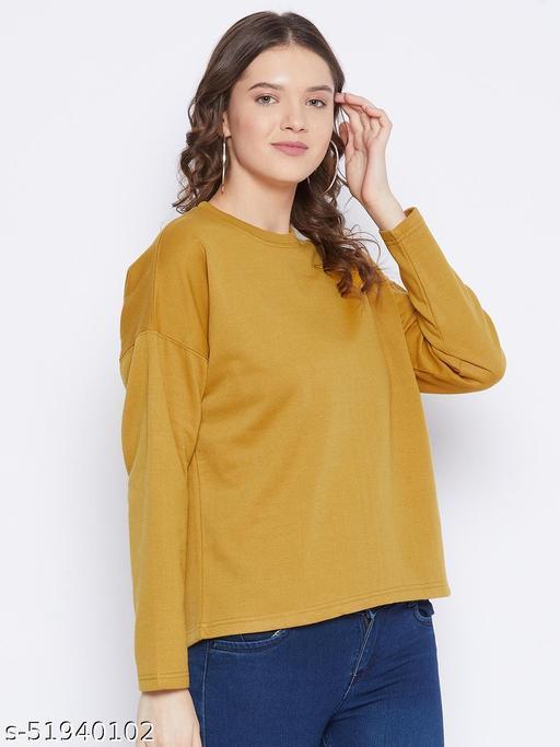 Fleece Drop Shoulder Round Neck Sweatshirt