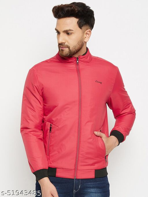 Camey Full Sleeve Solid Men Jacket (Red)