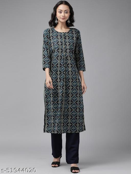 Yufta Teal Blue & Black Printed Pure Cotton Kurta Sets