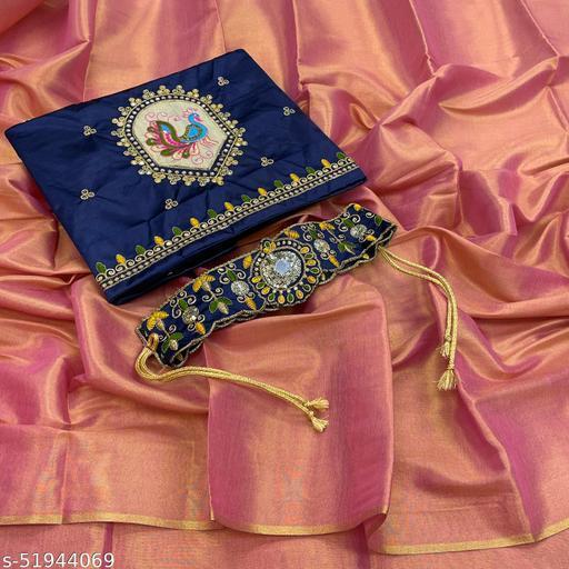 vishva uppada silk two tone belt saree