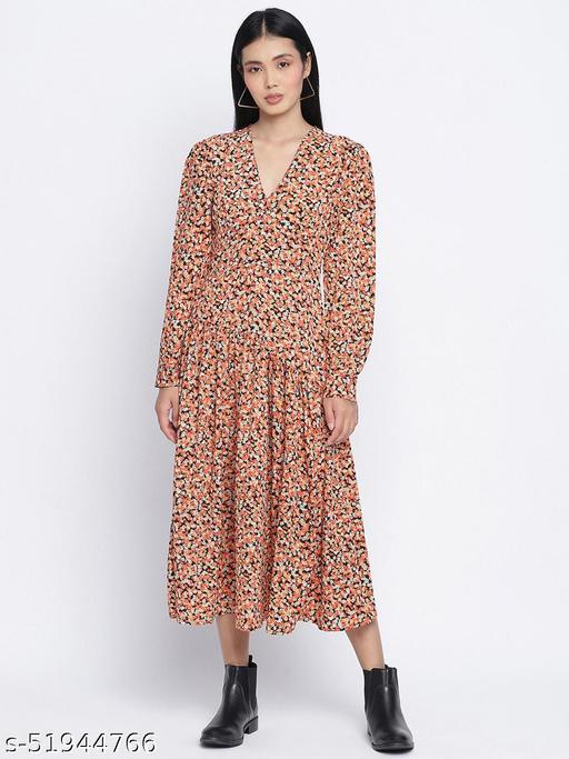 Gracious orange printed casual women dress