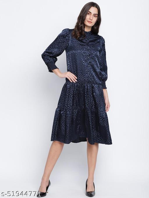 Jacquine Blue button down women Satin Print dress