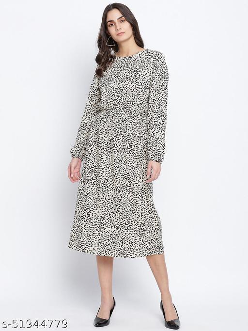 Attalic beige smocked animal printed women dress
