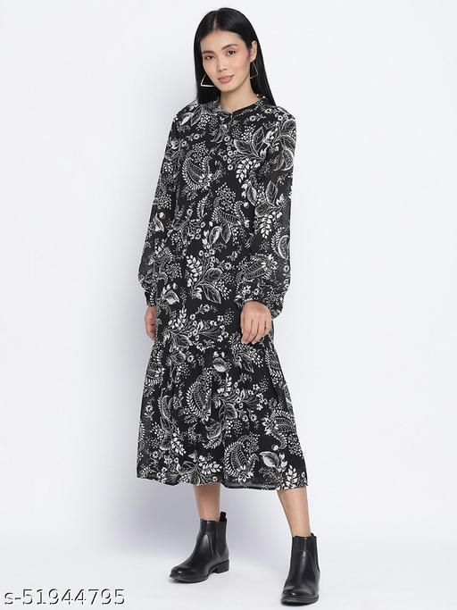 Stunner wink printed casual women dress