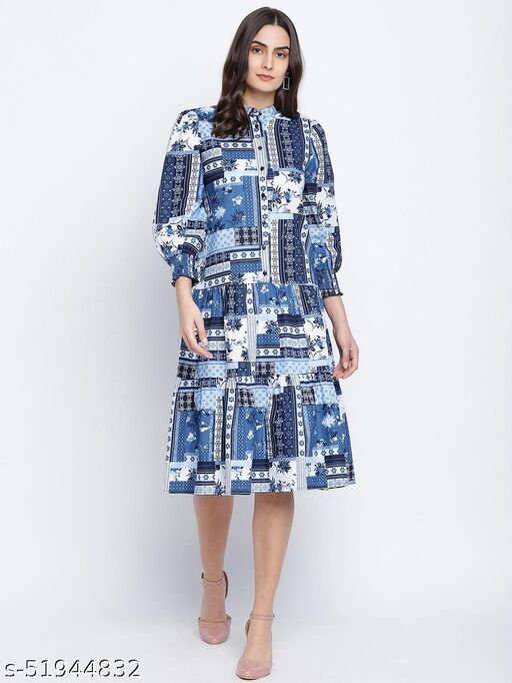 Winking Blue Cotton Sheeting button down women dress