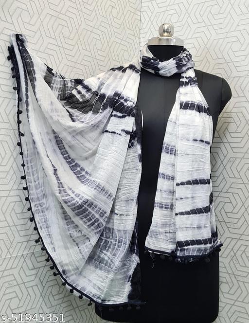 A To Z Cart Beautiful Women Chiffon Printed Stylelist Dupatta(CHINON BLACK)