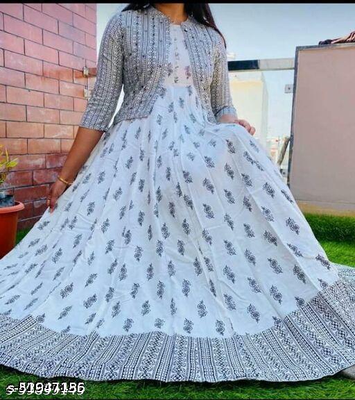Women Rayon Printed White Kurti With jacket