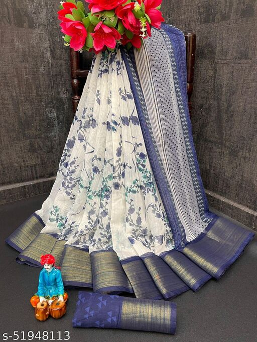 NEW LOOK FANCY LINEN SAREE WITH BLOUSE