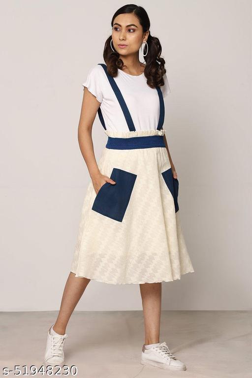 White & Blue Dungree Skirt