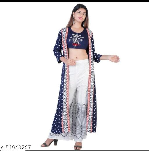 WESTERN Style Women Rayon Embroidered Crop Top Kurti With Palazzos