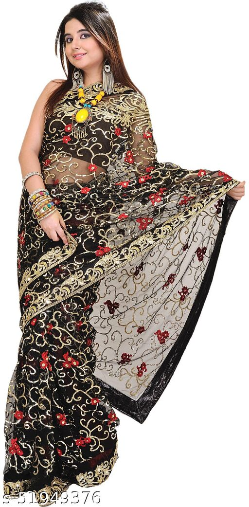 Exotic India Jet-Black Wedding Sari with Embroidered Sequins and Flowers