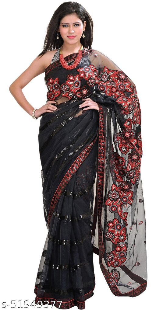 Exotic India Jet-Black Designer Sari with Floral Embroidered Patches