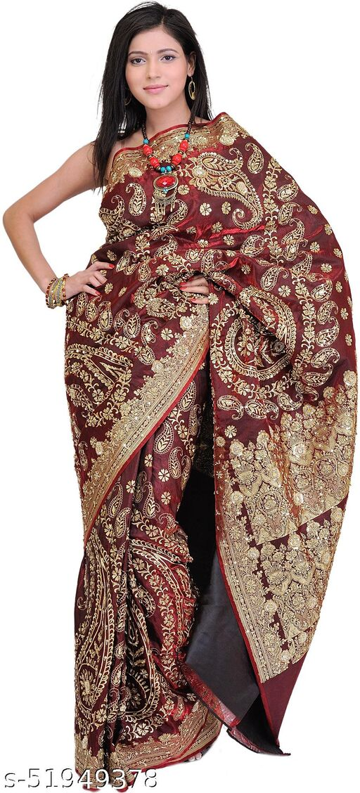 Exotic India Cordovan Bridal Sari from Banaras with Metallic Thread Embroidered Sequins and Beads