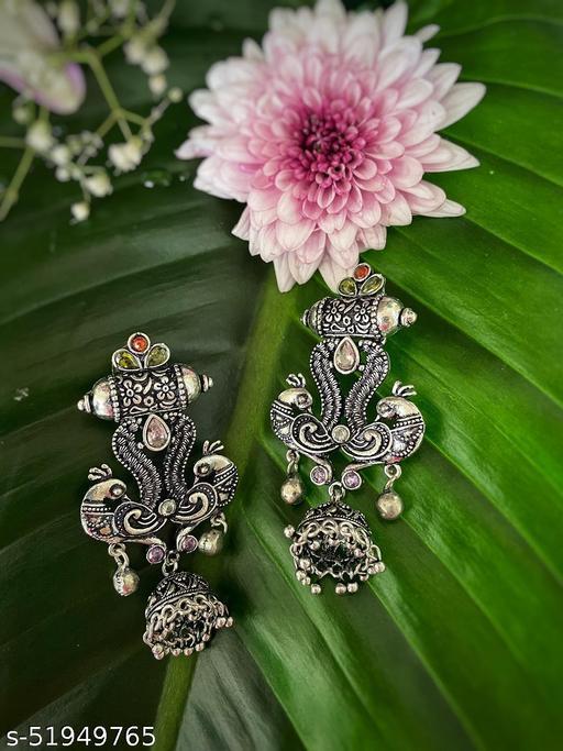 German Oxidized Silver Earrings Peacock Design Engraved Jhumkas with Gungroo Earrings