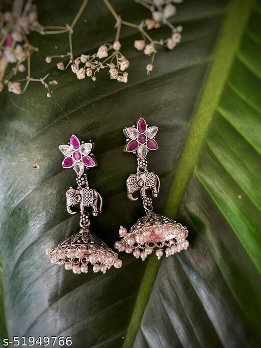 German Oxidized Silver Earrings Flower/Elephant Engraved Pearls Jhumkas & Stones Studded Earrings