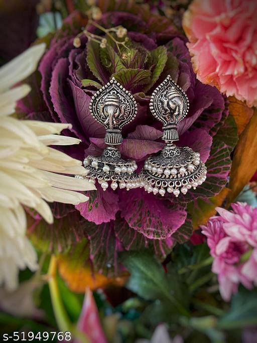 German Oxidized Silver Earrings Ganesha Engraved Jhumkas with Pearls Earrings