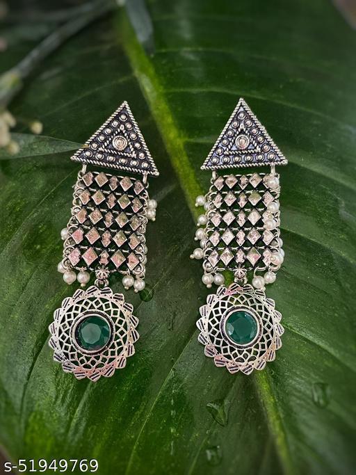 German Oxidized Silver Earrings Geometric Designs with Pearls & Green Stone Studded Earrings