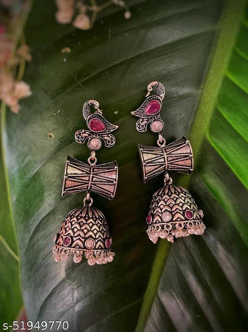 German Oxidized Silver Earrings Peacock/Damru Engraved Jhumkas with Pearls & Stones Studded Earrings