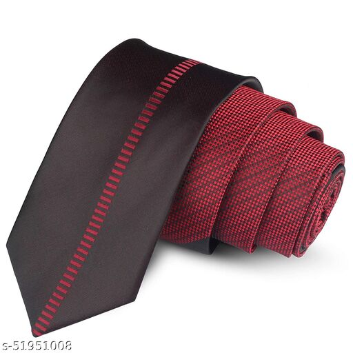 Panjatan Maroon Coloured Grid with Stitch Design Striped Microfiber Skinny Necktie for Men.(Width-2.5 Inch)…