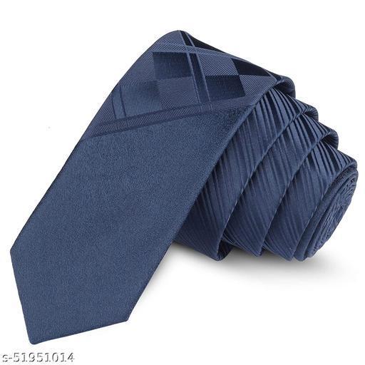 Panjatan Navy Blue Coloured Striped, Checkerd & Rustic Beams Patterned Microfiber Skinny Necktie for Men.(Width-2.5 Inch)…