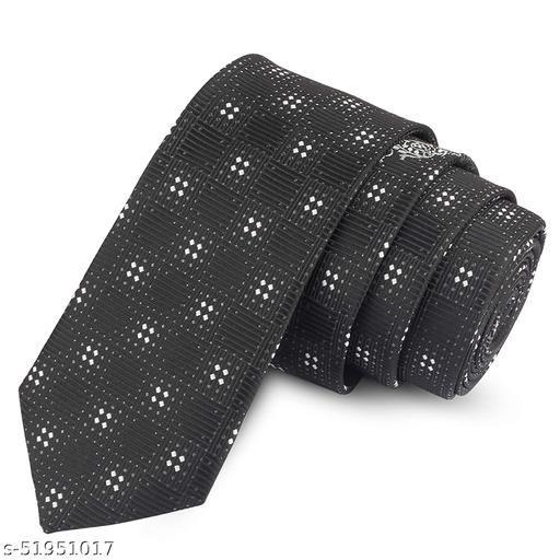 Panjatan Black Coloured Nautical Zigzag Patterned Microfiber Skinny Necktie for Men.(Width-2.5 Inch)…