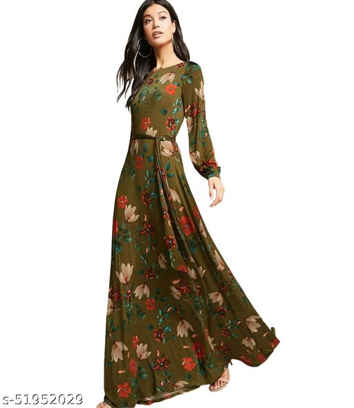 Ritsila Women's Fit And Flare Western Cotton Floral Maxi Length Dress
