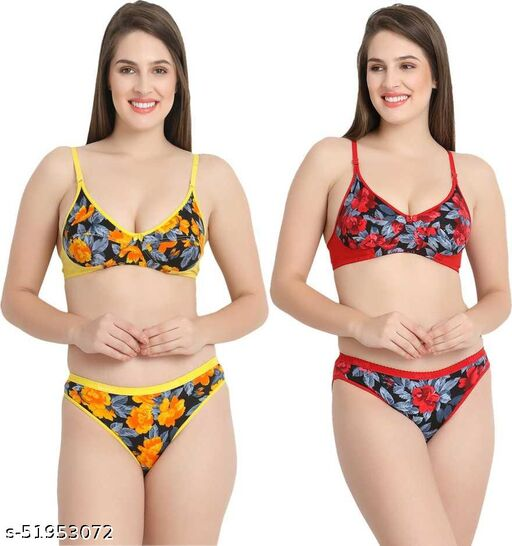 Women's Floral Printed Lingerie Set (Yellow and Red, Pack of 2) - Non Padded Non Wired