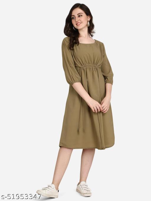 POSHNIKA Chic and Trendy Greenish-Brown Dress