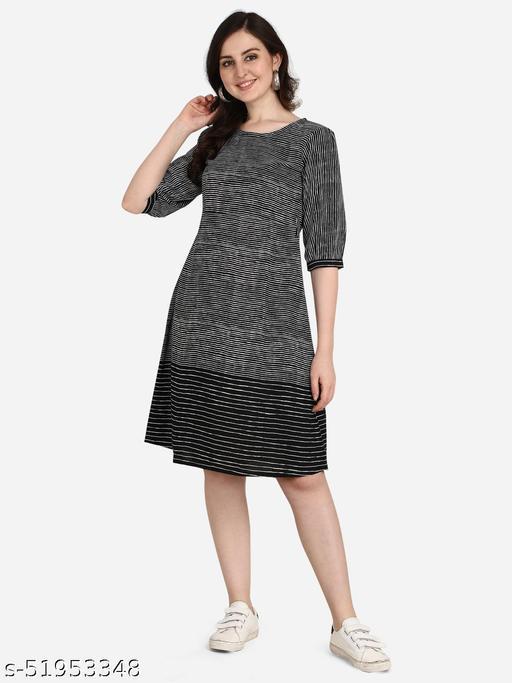 POSHNIKA Chic and Trendy Black & White Dress