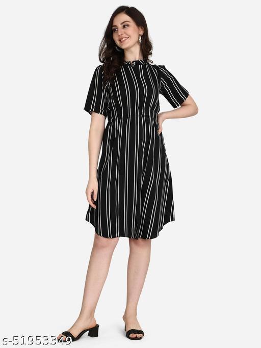 POSHNIKA Chic and Trendy Black Stripes line Dress