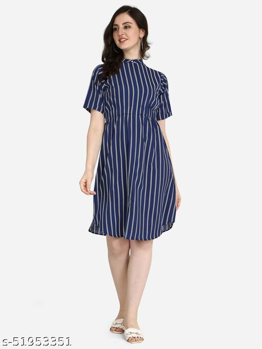 POSHNIKA Chic and Trendy Navy Blue Stripes line Dress
