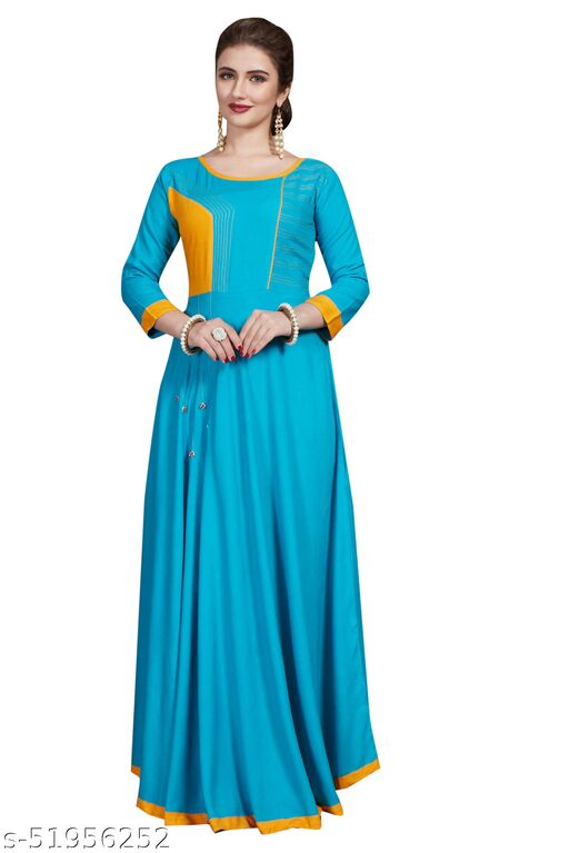 Women's Casual Wear Rayon Hand Work Long Flared Maxi Dress Are so Versatile And Easy To Rock In Every season! Featuring A cute sleeve with A classic Floor Length And Round Neck, These Relaxed Max is Are so Easy to love.