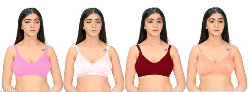 Dylanf women Wirefree & full Coverage bra (pack of 4) multicolor
