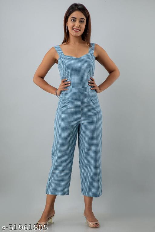 CHEER PAT Cotton Flex Checks Print Western Wear Jumpsuit For Women (Blue)