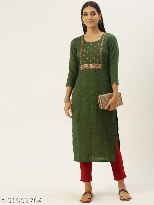 Shewill Green chinon embroidered With sequins Work kurta