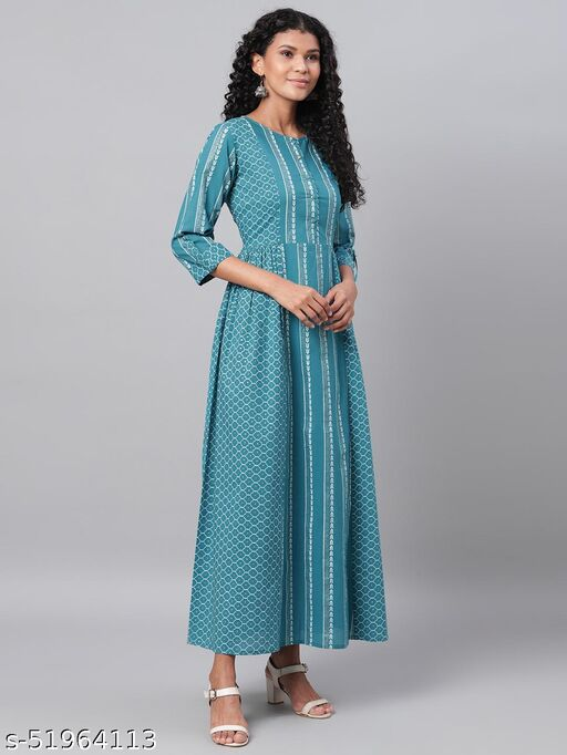Ladily Women's Green Printed 3/4 Sleeve Cotton Round Neck  Dress