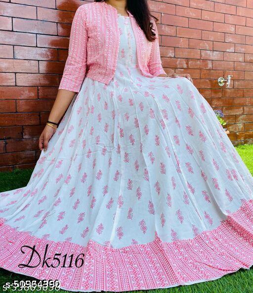 Women Rayon Printed Pink Long Kurti With Jacket
