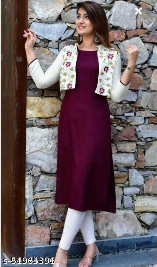 Women Rayon Printed Maroon Long Kurti With jacket