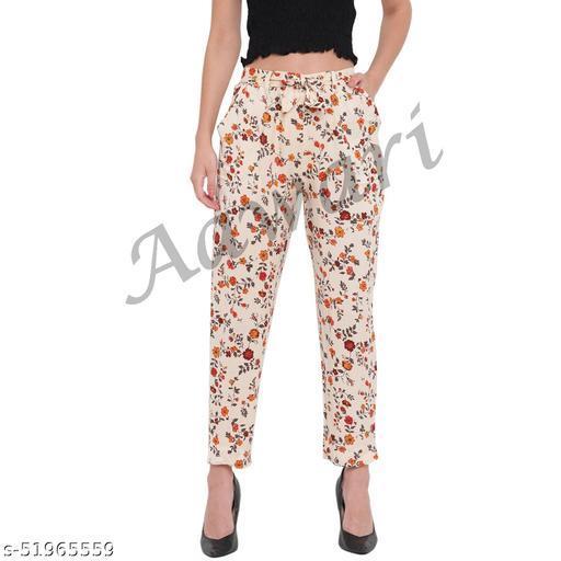 Aawari Rayon Printed Trouser Pants with Belt AM092-002