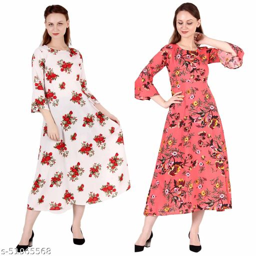 Giggles Creations A Line Dress with Inner Cotton Lining Cream Printed and Coral Printed Pack of 2