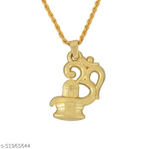 Morvi Gold Plated Brass Big and Bold, Om with Shivling Mahadeva Shiva Temple Jewellery Pendant Chain locket Neckalce for Men  Gold-plated Brass Pendant ()