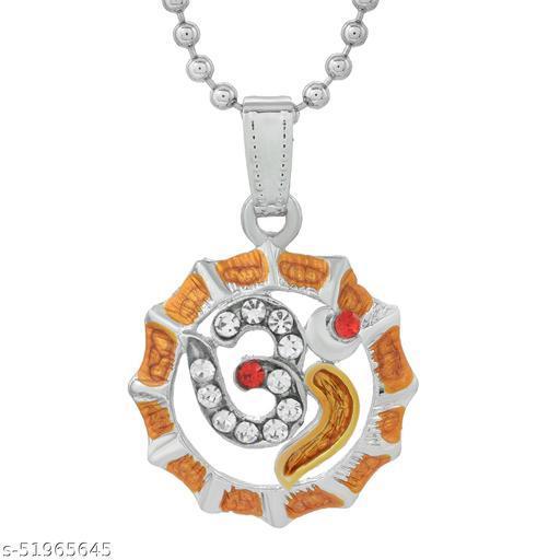 Morvi Dual tone Brass CZ Round Circle with Om Shiva, Mahadeva, Pendant chain Locket for Men  Gold-plated Cubic Zirconia Brass Pendant ()