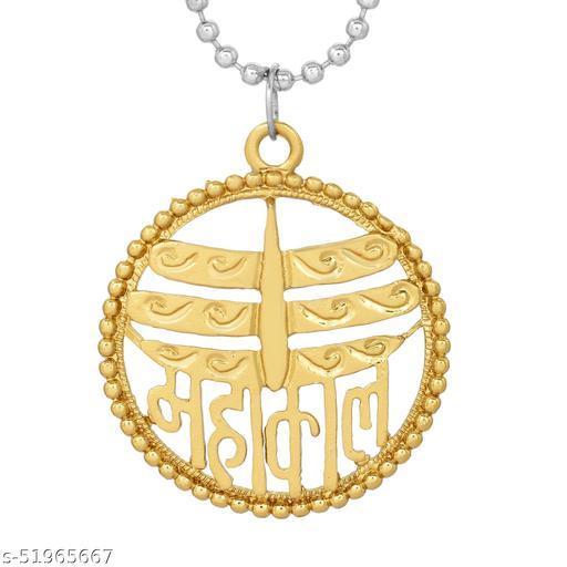 Morvi Gold Plated Alloy Brass Round Circle with Mahakaal, mahakal, Shiv, Pendant Locket Chain For Men and women Gold-plated Brass Pendant ()