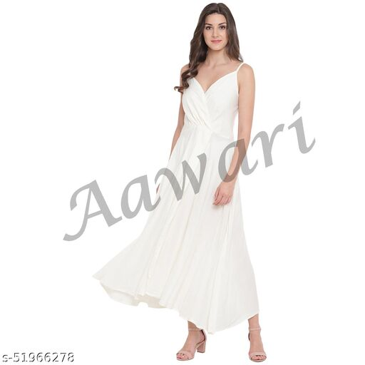 Aawari Rayon Front Open Gown For Girls and Women White