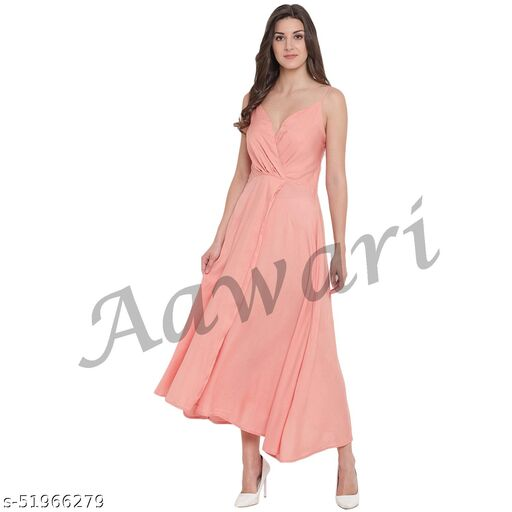 Aawari Rayon Front Open Gown For Girls and Women Peach