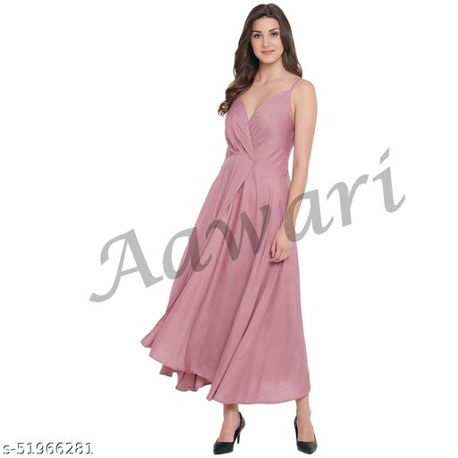 Aawari Rayon Front Open Gown For Girls and Women Spring Onion