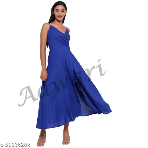 Aawari Rayon Front Open Gown For Girls and Women Royal Blue